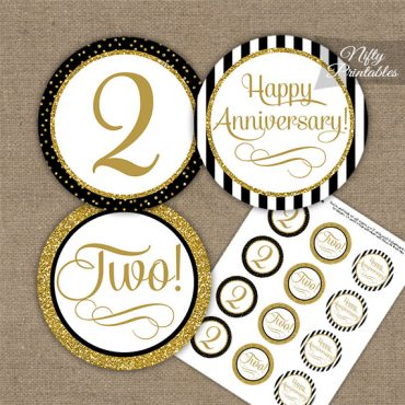 2nd Anniversary Cupcake Toppers - Black Gold