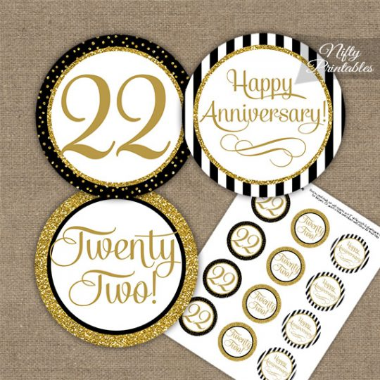 22nd Anniversary Cupcake Toppers - Black Gold