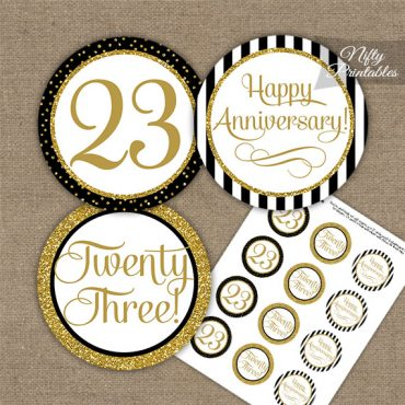 23rd Anniversary Cupcake Toppers - Black Gold