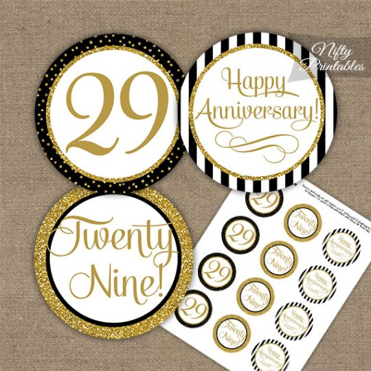 29th Anniversary Cupcake Toppers - Black Gold