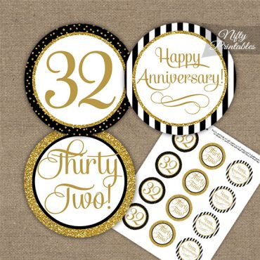 32nd Anniversary Cupcake Toppers - Black Gold