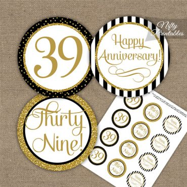 39th Anniversary Cupcake Toppers - Black Gold