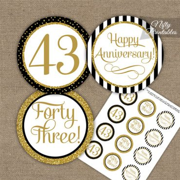 43rd Anniversary Cupcake Toppers - Black Gold