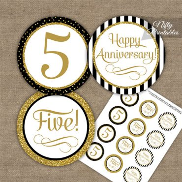 5th Anniversary Cupcake Toppers - Black Gold