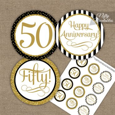 50th Anniversary Cupcake Toppers - Black Gold