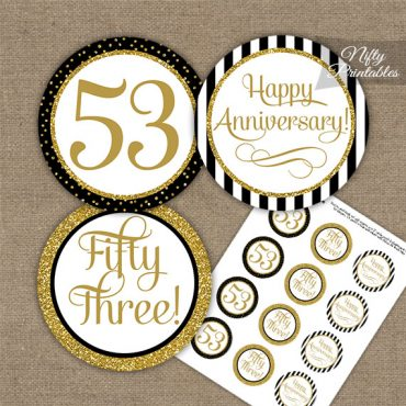 53rd Anniversary Cupcake Toppers - Black Gold
