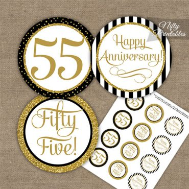 55th Anniversary Cupcake Toppers - Black Gold