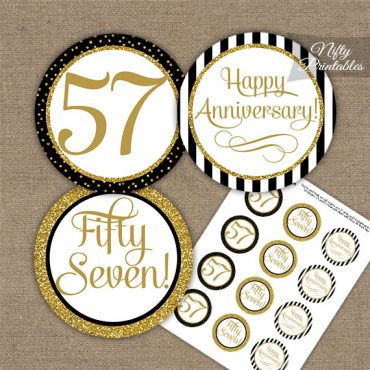 57th Anniversary Cupcake Toppers - Black Gold