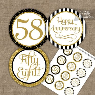 58th Anniversary Cupcake Toppers - Black Gold