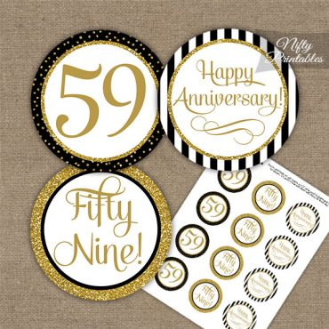 59th Anniversary Cupcake Toppers - Black Gold