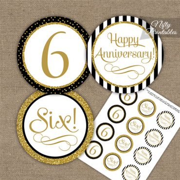 6th Anniversary Cupcake Toppers - Black Gold