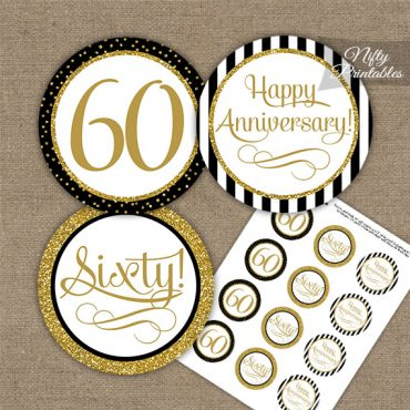 60th Anniversary Cupcake Toppers - Black Gold