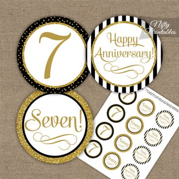 7th Anniversary Cupcake Toppers - Black Gold