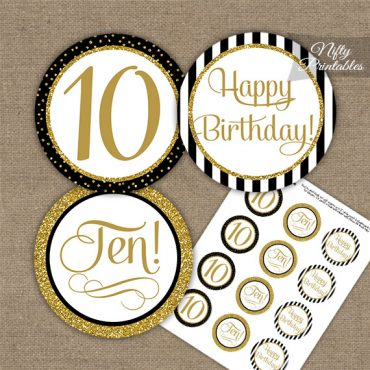 10th Birthday Cupcake Toppers - Elegant Black Gold