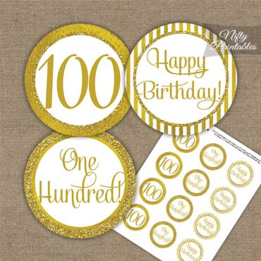 100th Birthday Cupcake Toppers - All Gold