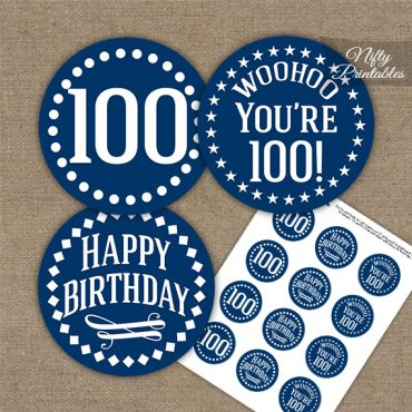 100th Birthday Cupcake Toppers - Navy White Impact