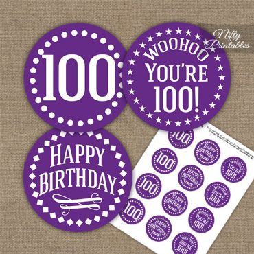 100th Birthday Cupcake Toppers - Purple White Impact