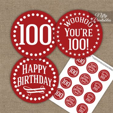 100th Birthday Cupcake Toppers - Red White Impact