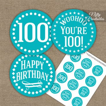 100th Birthday Cupcake Toppers - Turquoise White Impact