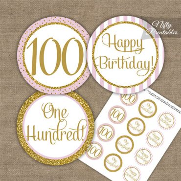 100th Birthday Cupcake Toppers - Pink Gold