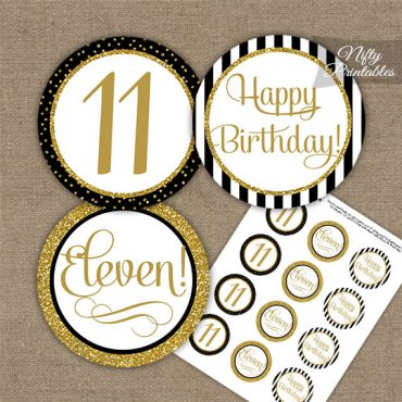 11th Birthday Cupcake Toppers - Elegant Black Gold