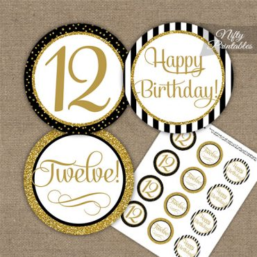 12th Birthday Cupcake Toppers - Elegant Black Gold