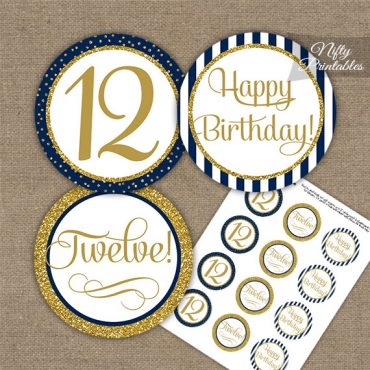 12th Birthday Cupcake Toppers - Navy Blue Gold