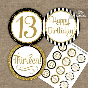 13th Birthday Cupcake Toppers - Elegant Black Gold