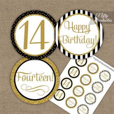 14th Birthday Cupcake Toppers - Elegant Black Gold