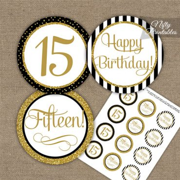 15th Birthday Cupcake Toppers - Elegant Black Gold