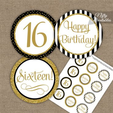 16th Birthday Cupcake Toppers - Elegant Black Gold