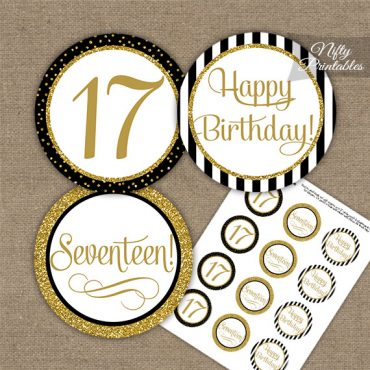 17th Birthday Cupcake Toppers - Black Gold