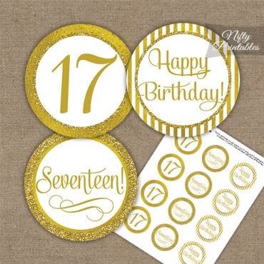 17th Birthday Cupcake Toppers - All Gold