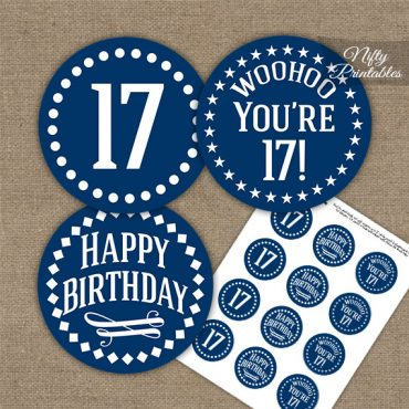 17th Birthday Cupcake Toppers - Navy White Impact