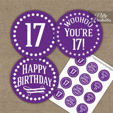 17th Birthday Cupcake Toppers - Purple White Impact