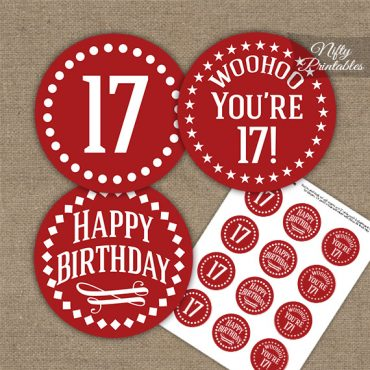17th Birthday Cupcake Toppers - Red White Impact