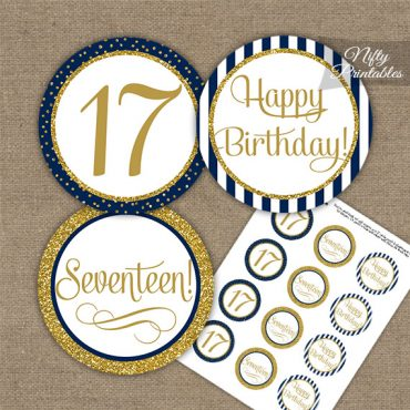 17th Birthday Cupcake Toppers - Navy Blue Gold