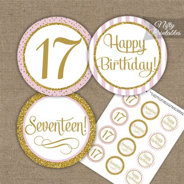 17th Birthday Cupcake Toppers - Pink Gold