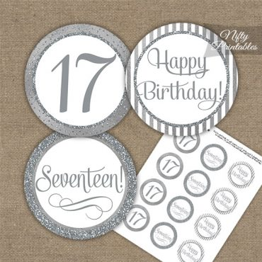 17th Birthday Cupcake Toppers - All Silver