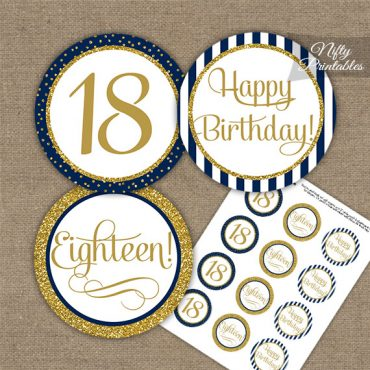 18th Birthday Cupcake Toppers - Navy Blue Gold