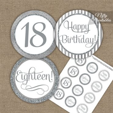 18th Birthday Cupcake Toppers - All Silver