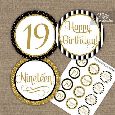 19th Birthday Cupcake Toppers - Black Gold