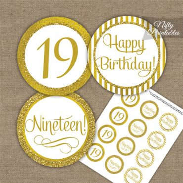 19th Birthday Cupcake Toppers - All Gold