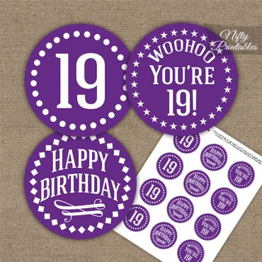 19th Birthday Cupcake Toppers - Purple White Impact