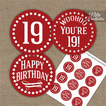 19th Birthday Cupcake Toppers - Red White Impact