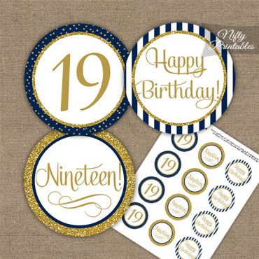 19th Birthday Cupcake Toppers - Navy Blue Gold