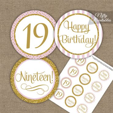 19th Birthday Cupcake Toppers - Pink Gold