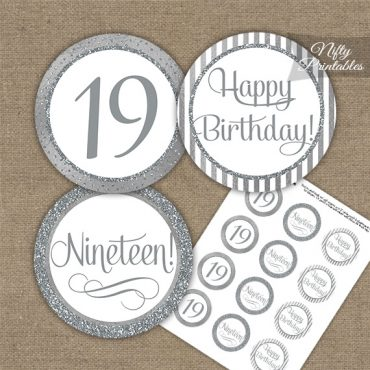 19th Birthday Cupcake Toppers - All Silver