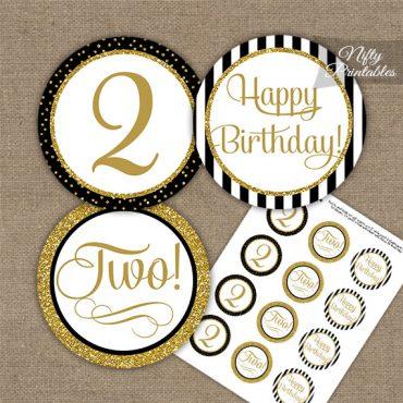 2nd Birthday Cupcake Toppers - Elegant Black Gold