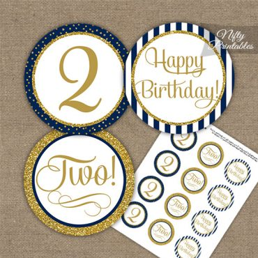 2nd Birthday Cupcake Toppers - Navy Blue Gold